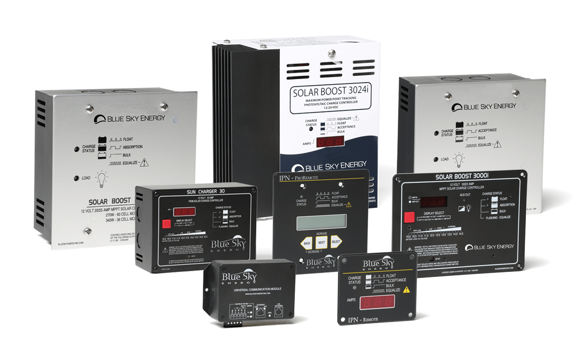 Sunforge Blue Sky Energy MPPT solar charge controllers for multi-controller uses rvs and pv street lighting