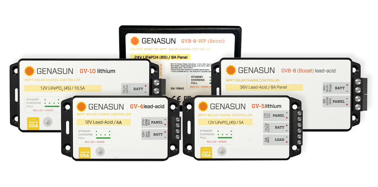 Sunforge Genasun small lightweight MPPT solar charge controllers for lead acid and lithium batteries