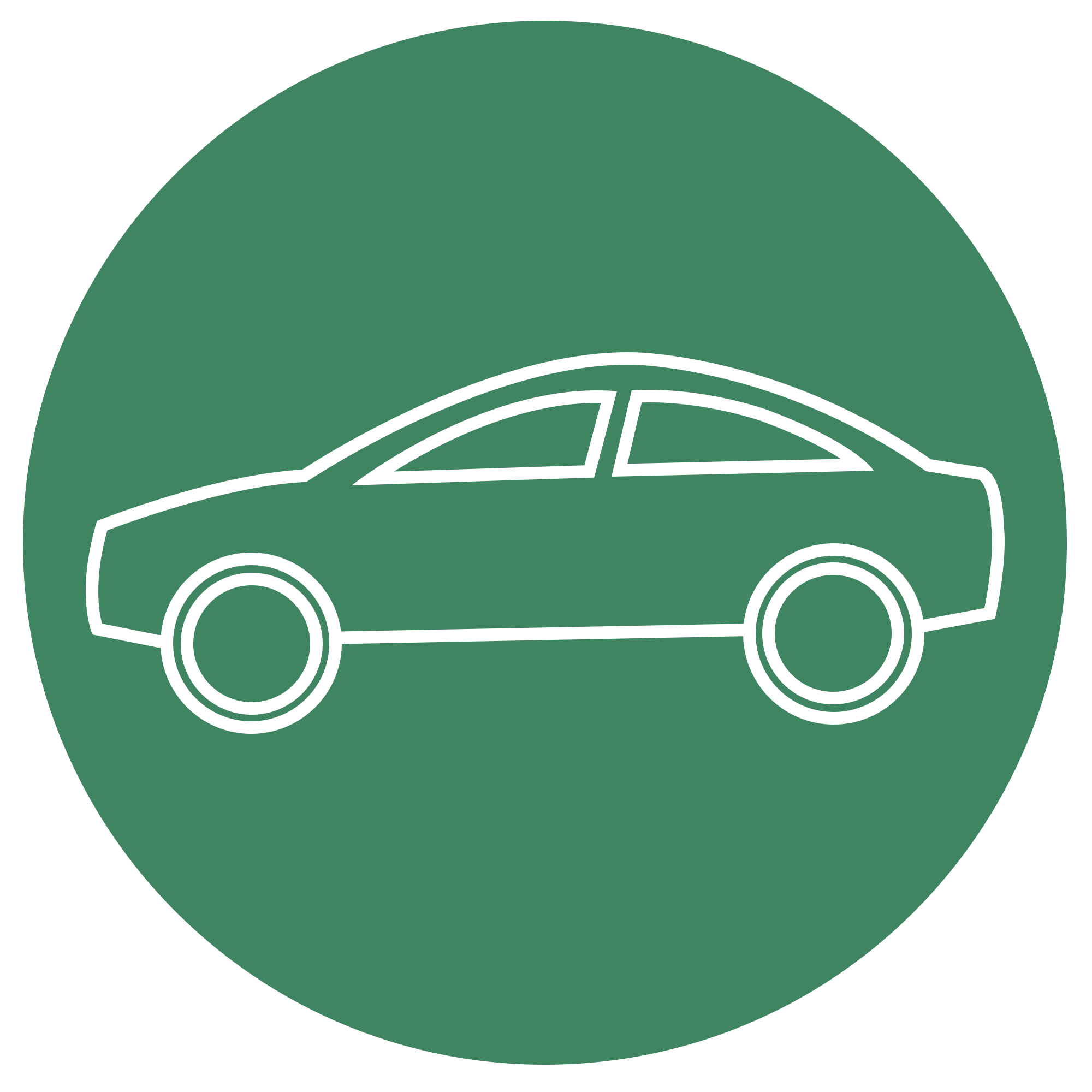 White car line art on green background representing gasoline equivalent
