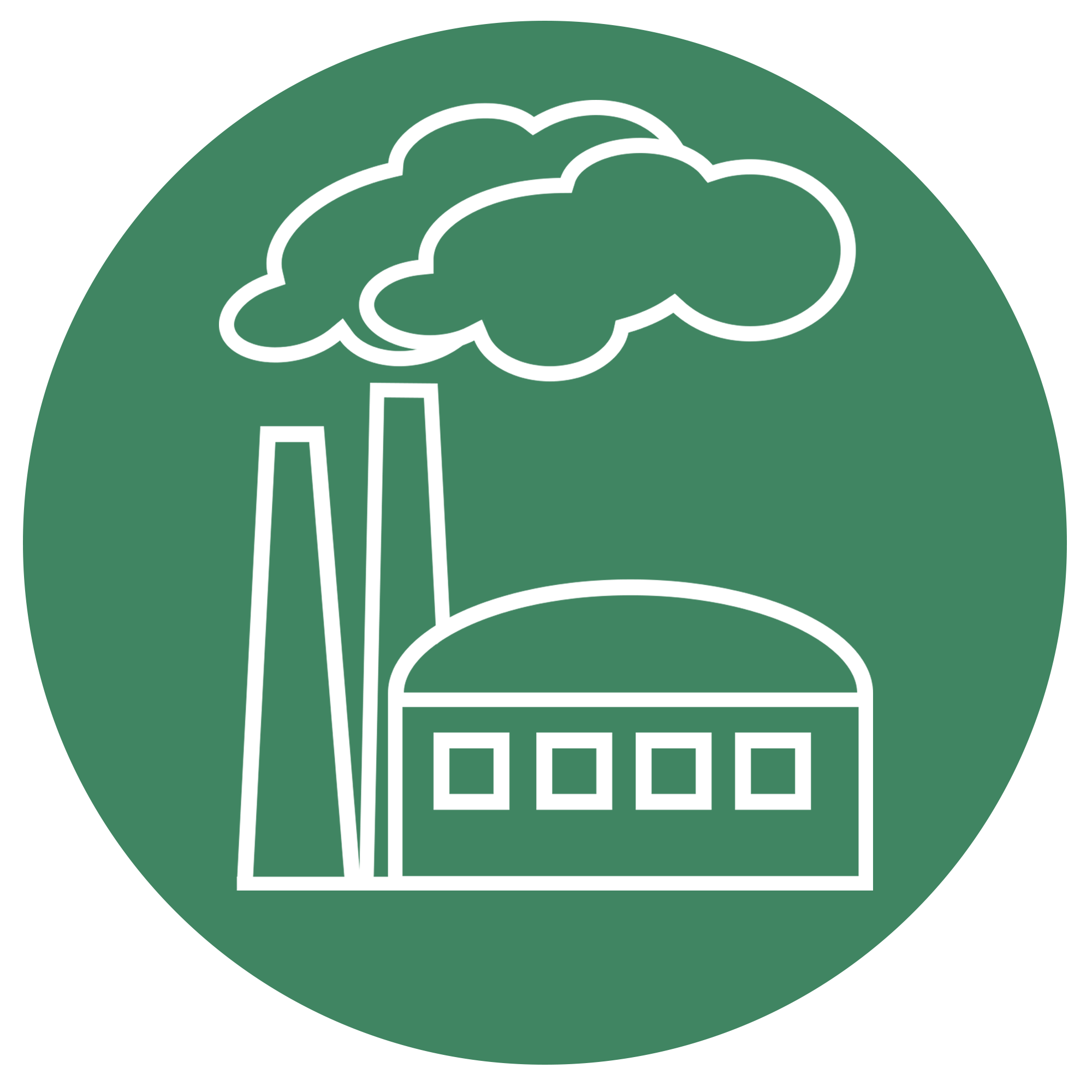 White emissions line art on green background representing carbon offsets